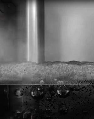 Grafische Darstellung eines Ruwac USPs zeigt die Bindung der Partikel in Flüssigkeit beim NA250