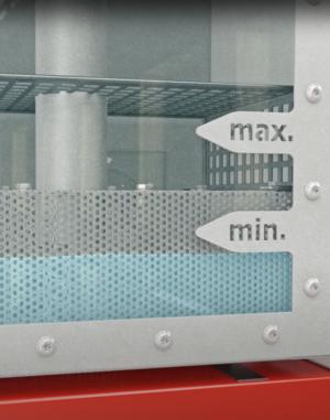 Grafische Darstellung eines Ruwac USPs zeigt die optische Füllstandsüberwachung beim Nassabscheider NA7-26