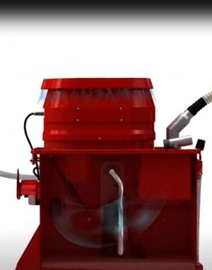 Grafische Darstellung eines Ruwac USPs zeigt das gleichzeitige Saugen und Abpumpen beim SPS250