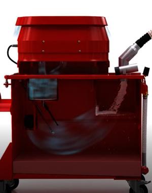 Grafische Darstellung eines Ruwac USPs zeigt die Bindung der Partikel in Flüssigkeit beim SPS250