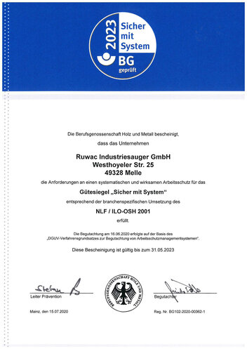 Zertifikat Berufsgenossenschaft Holz und Metall bescheinigt, dass die Anforderungen an einen systematischen und wirksamen Arbeitsschutz