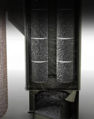 Grafische Darstellung eines Ruwac USPs zeigt die Schwerkraftabscheidung beim DS6 mit Patronenfilter