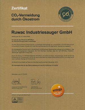 Zertifikat CO2-VERMEIDUNG DURCH ÖKOSTROM