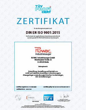 Zertifikat TÜV - wir sind zertifiziert nach DIN EN ISO 9001:2015